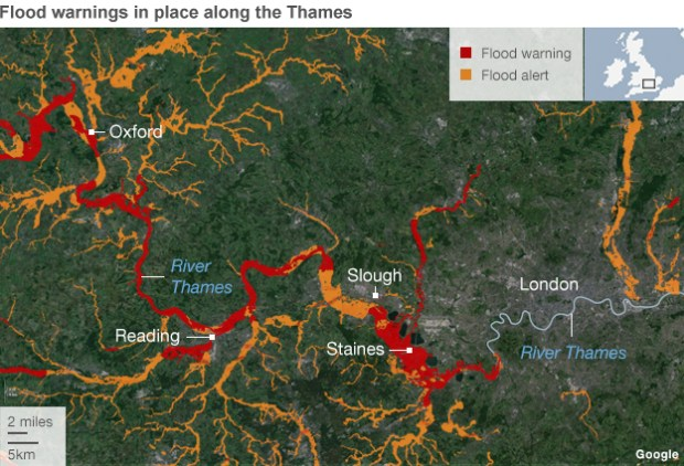Map showing areas along the Thames affected by Severe flood warnings.