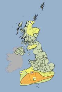 Amber and Yellow warnings of wind issued for Monday the 8th February 2016.