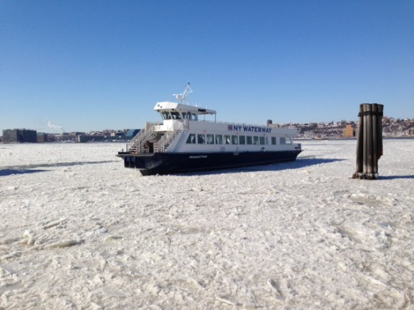 NY Waterways Ferry on Icy Hudson River