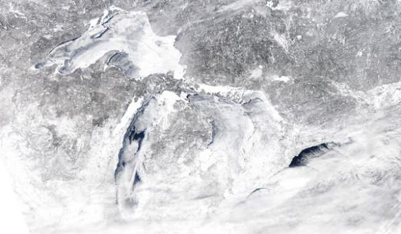 Ice covers more than 90% of the Great Lakes. Image Credit: NOAA/Great Lakes Environmental Research Laboratory.