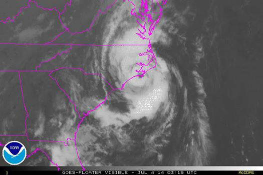 Eye of Hurricane Arthur passes over NC.  Image Credit: NOAA