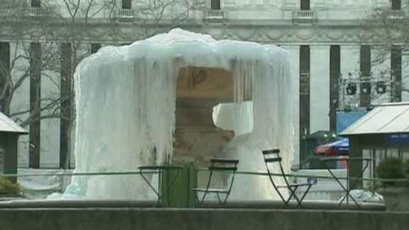 Frozen Fountain in NYC's Bryant Park.  Credit: FOX