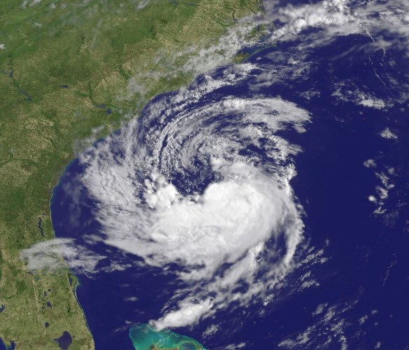 Satellite view of Subtropical Storm Ana off the Carolina coast.  Image Credit: NASA