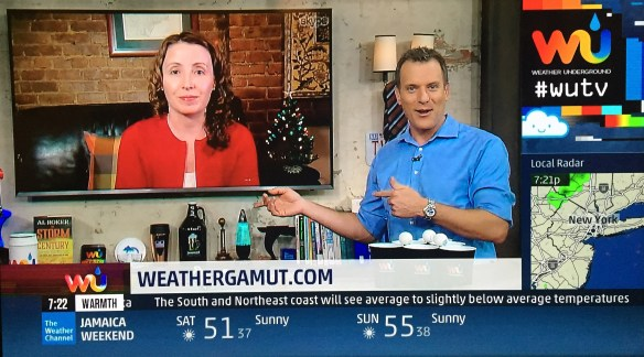 """Weather Gamut"" writer, Melissa Fleming, makes 2nd appearacne on WUTV, Dec 1, 2015"
