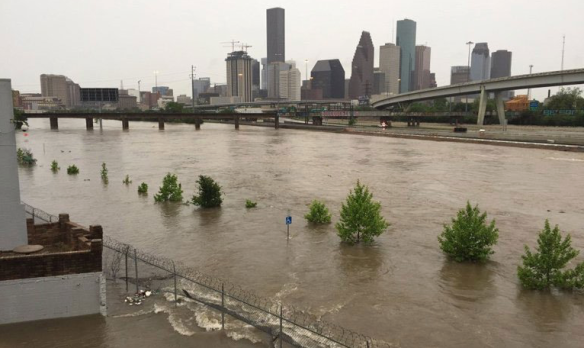 View of flooding in downtown Houston, TX. Credit: KHOU