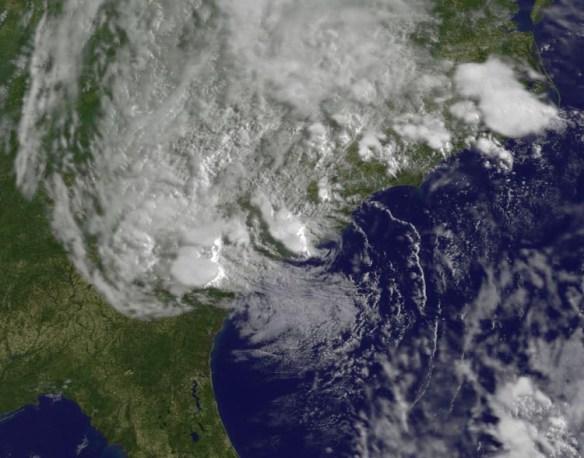 Bonnie makes landfall as a tropical depression near Charleston, SC. Credit: NASA