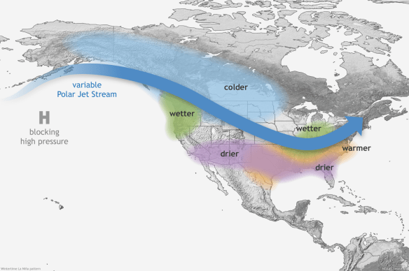 Typical Winter La Nina jet stream pattern. Credit: Climate.gov