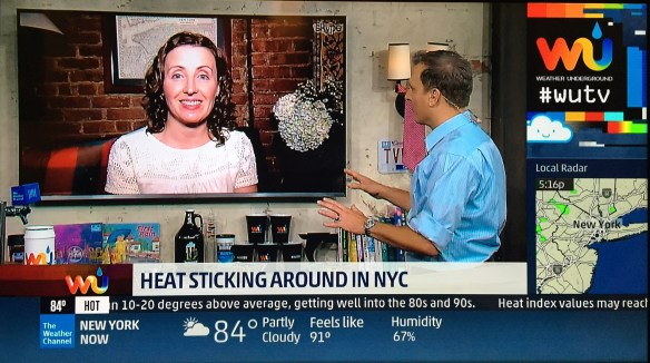 Weather Gamut writer, Melissa Fleming, talks with Mike Bettes on WUTV. September 9, 2016. Credit: TWC and Melissa Fleming