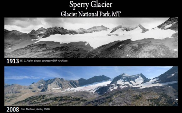 """Repeat Photography"", a USGS project, documents the changes to GNP's glaciers over the years. Credit: USGS/NPS"