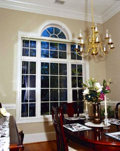 Half Round w/ Sunburst Grid and Double Hung & Picture Window Combination
