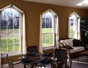 Round Top Single Hung Windows w/ Colonial Grids