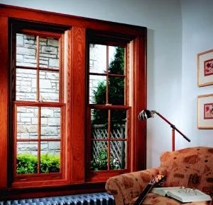 Wood Double Hung Windows w/ 4 Lite Colonial Grids