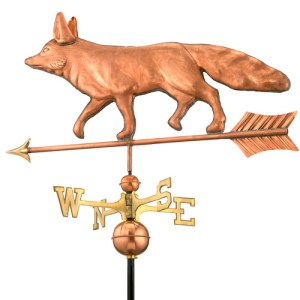 Fox Handcrafted Polished Copper Weathervane -0