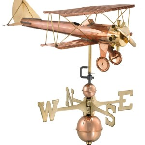 Estate Size Biplane Pure Copper Handcrafted Weathervane -0