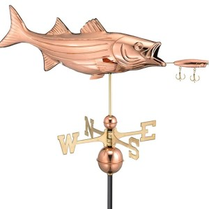 Two Story Home Sized Bass & Lure Fish Pure Copper Weathervane -0