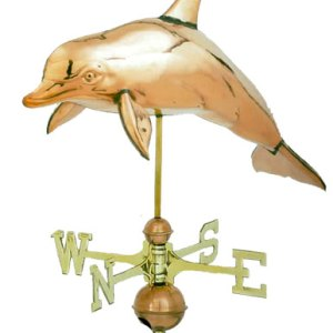 3-D Dolphin Copper Weathervane-0