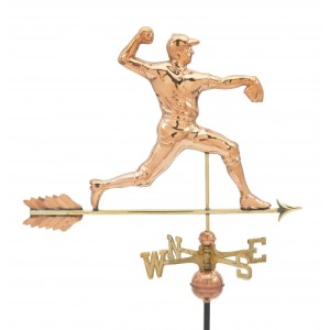 Baseball Pitcher Copper Weathervane-0