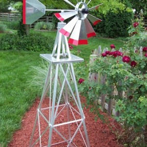 Six Foot Ornamental Aluminum Windmill-0