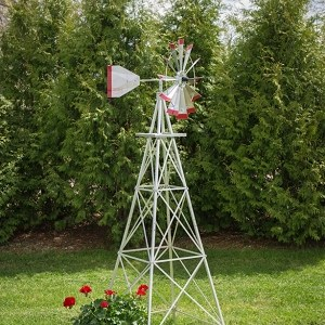 Eight Foot Ornamental Aluminum Windmill-0