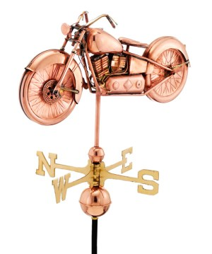Motorcycle Weathervane 669 - Polished Copper-0