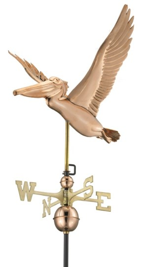 Two Story Home Size Pelican Pure Copper Handcrafted Weathervane -0