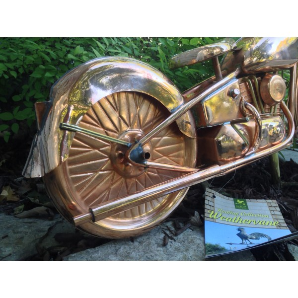 Motorcycle Weathervane 669 - Polished Copper-3938
