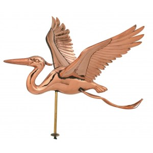 Blue Heron 3-D Garden Copper Weathervane-0