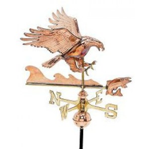 Eagle with Fish 3-D Copper Weathervane-0