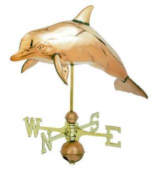 3-D Dolphin Copper Weathervane-0