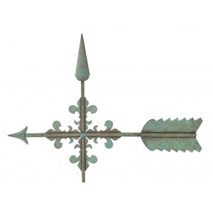 Polished Ornate fleur-de-lis Arrow Weathervane -0