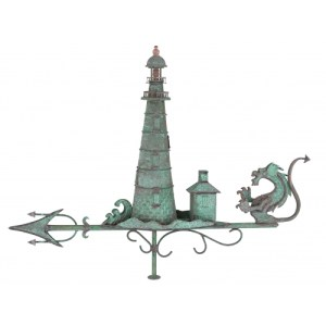 Lighthouse With Dragon Copper Weathervane-0