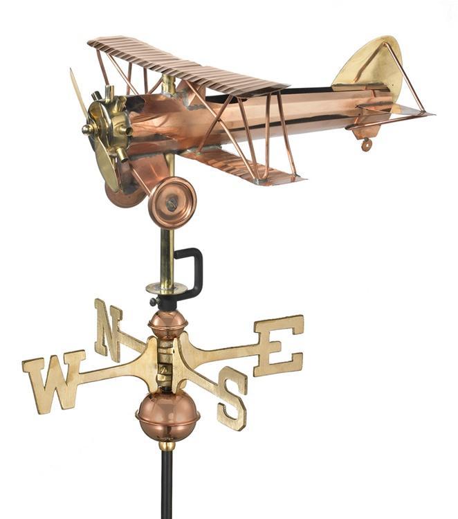 Cottage Sized Biplane Pure Copper Weathervane-0