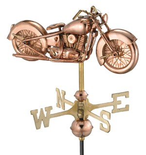 Cottage Sized Motorcycle Pure Copper Handcrafted Weathervane-0