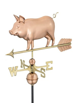 Country Pig Copper WeatherVane -0
