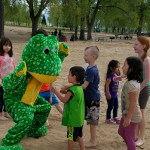 Charlie playing with fans at Cherry Creek Park.