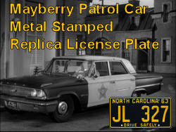 Mayberry Patrol Car License Plate