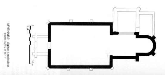 Plan de l'église de Myenne