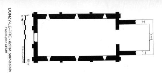 Plan de l'église de Donzy-le-Pré