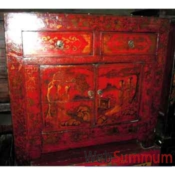 tiroirs rouge laque style chine c3005