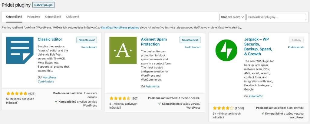 Wordpress zoznam pluginov