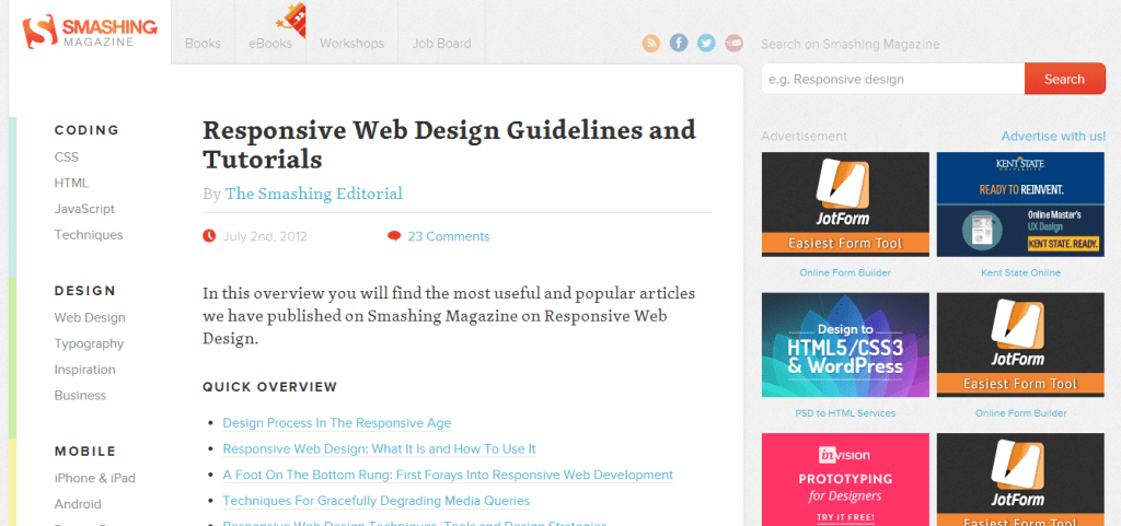 Responsive Web Design Guidelines And Tutorials Smashing Magazine Web3canvas