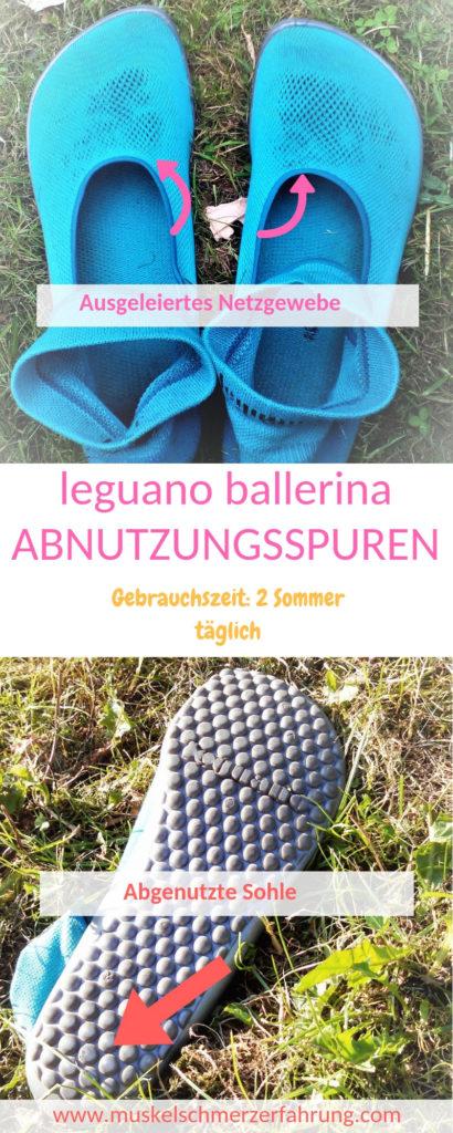 ausgeleiertes Netzgewebe leguano ballerina Abnutzungsspuren GEbrauchszeit 2 sommer täglich abgenutzte Sohle