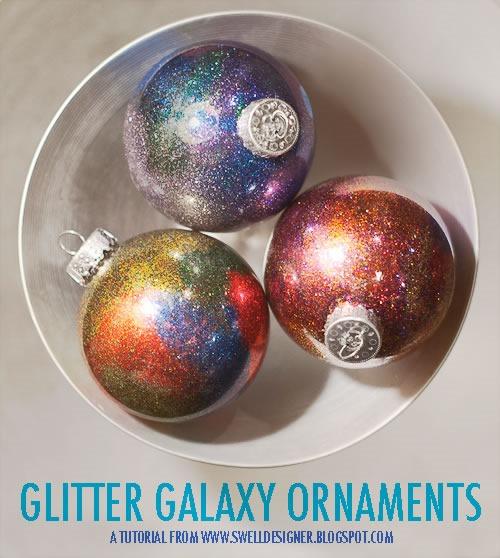 25 increibles  adornos de navidad hechos a mano - esferas galaxia resplandeciente