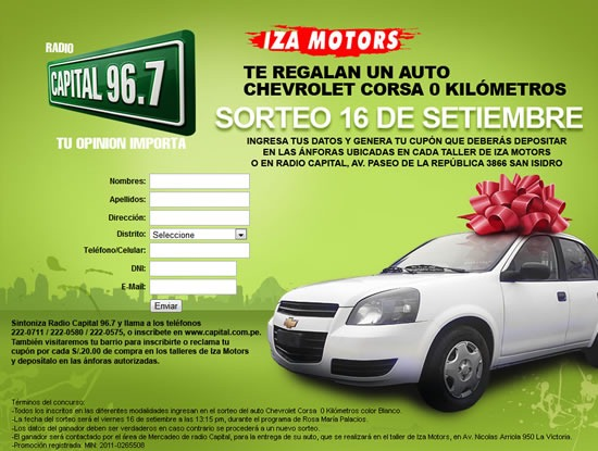 ganar-auto-chevrolet-corsa-radio-capital-iza-motors-2011