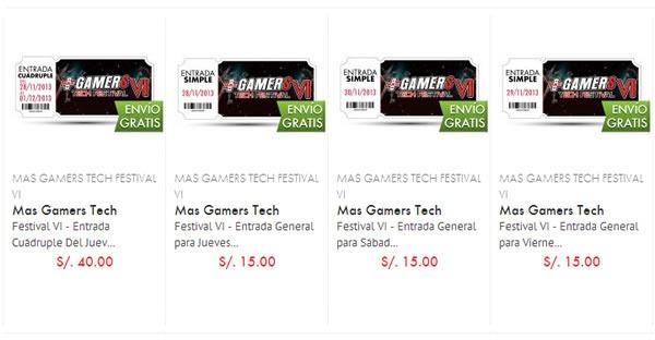 venta entradas masgamers tech festival lima 2013