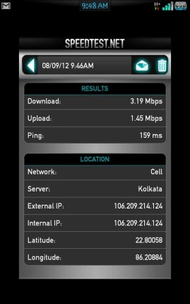 Aircel 3g speed test on mobile