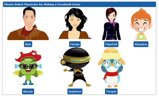select character for Facebook timeline