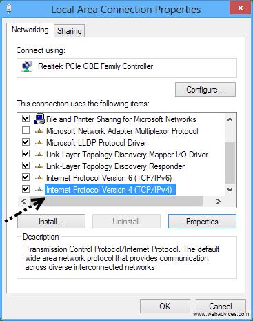 Select internet protocol