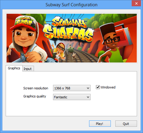Subway Surfer PC game configuration