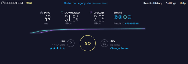 Reliance JioFi Speed test